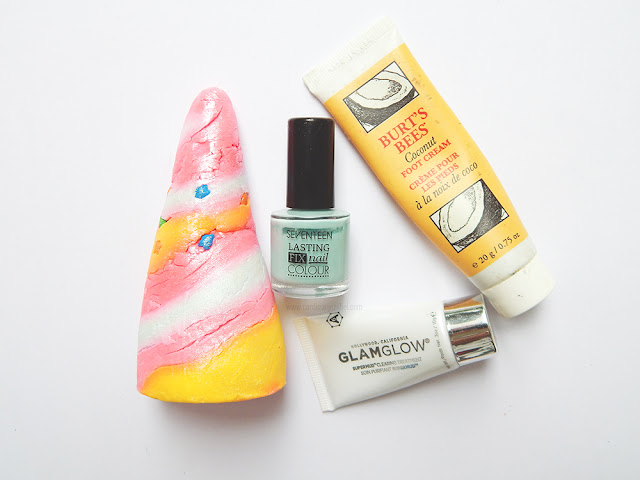 lush unicorn horn bubble bar, seventeen nail polish, burt's bees foot cream, and glam glow mud mask on a white background.