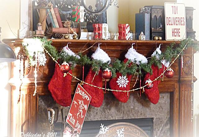 P1130356stocklings Christmas mantel {rustic, whimsy}