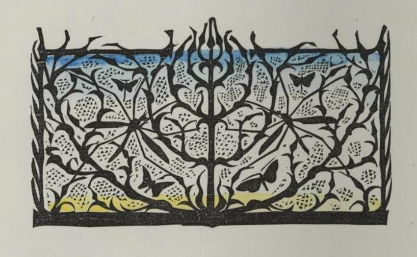 woodcut silhouette insect pattern