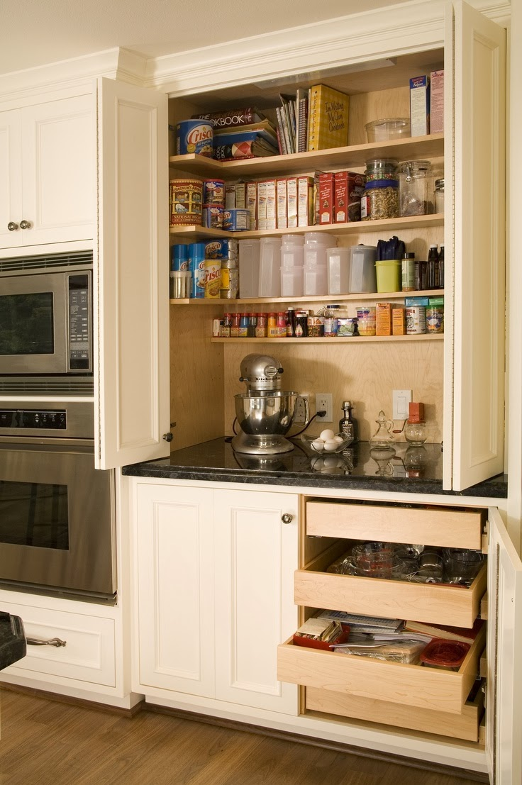 Polka dotty place baking station for Built in place kitchen cabinets