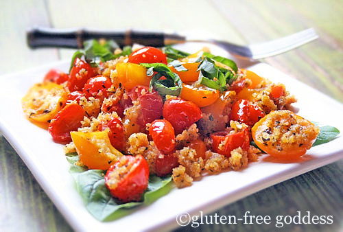 baked grape tomatoes and gluten free conrnbread crumbs