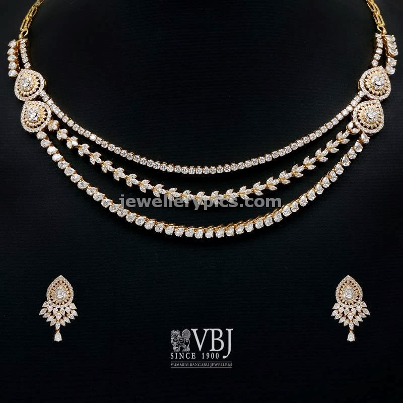 vbj simple diamond necklace in layers