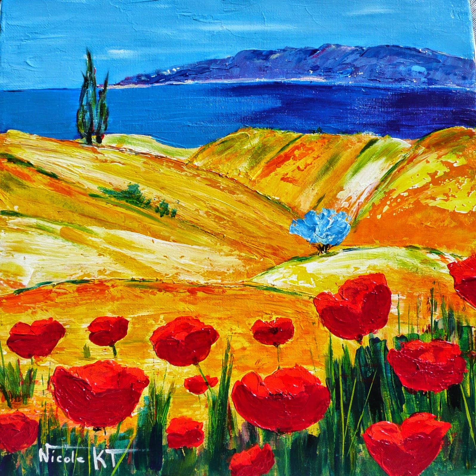 Nicole catt artiste peintre peinture acrylique provence for Tableau de coquelicot en peinture