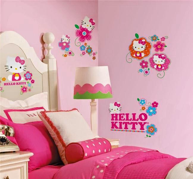 Gambar wallpaper dinding kamar hello kitty pink