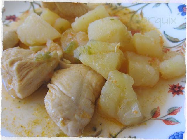Pollo guisado con patatas en olla r pida - Patatas en olla rapida ...