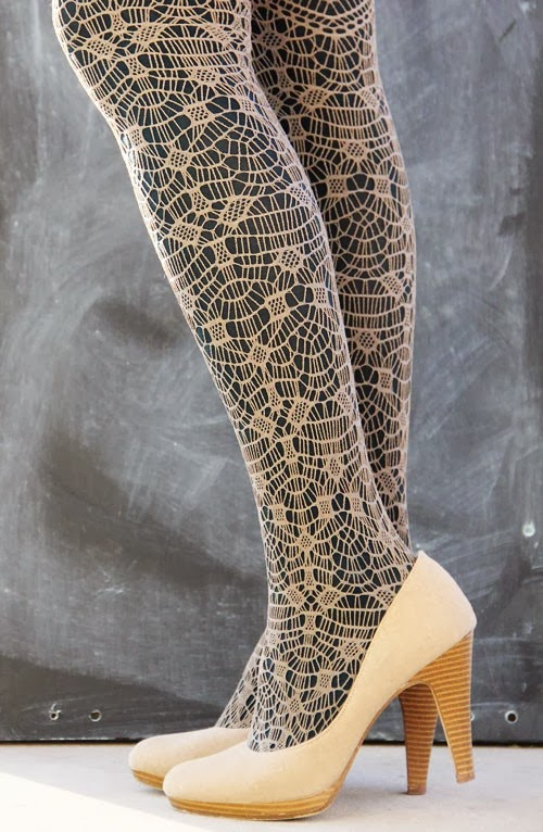 Interesting and Amazing Tights with White High-Heeled Shoes