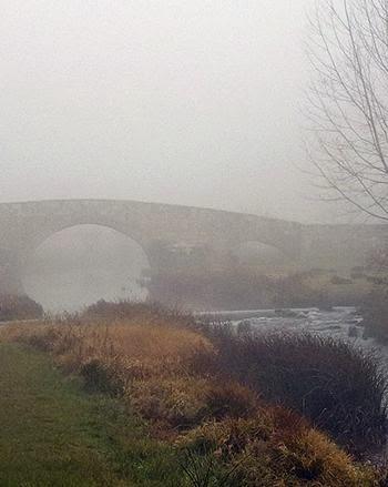 Puente entre niebla