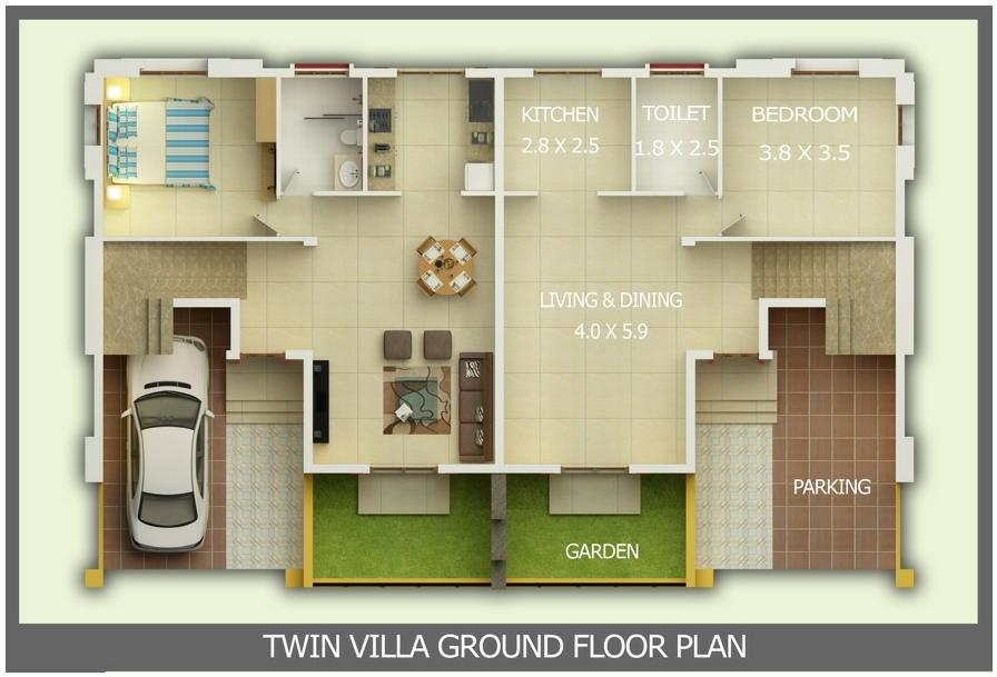 Kerala building construction Ground floor 3 bedroom plans