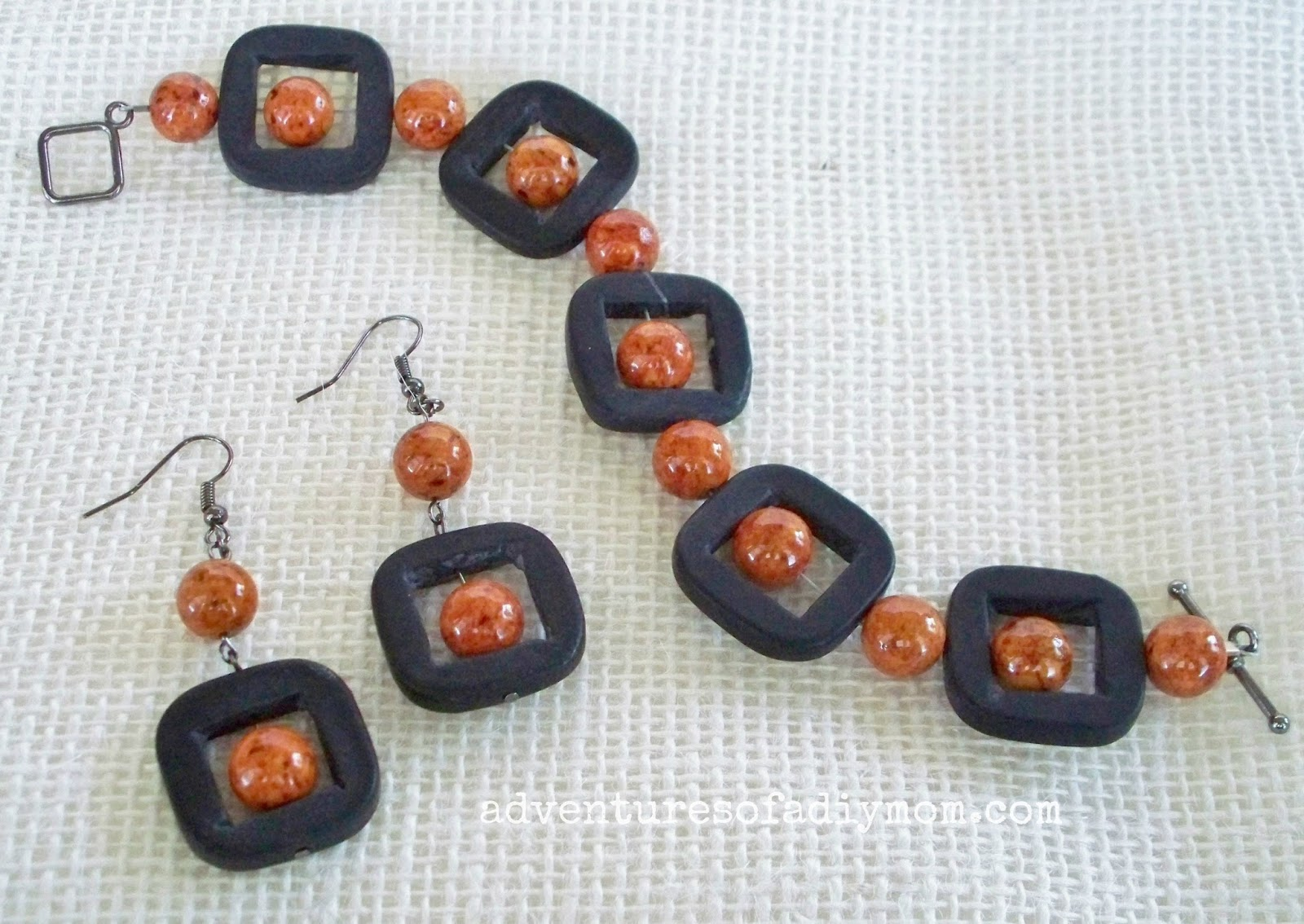 Grey and Orange Bracelet and Earring Tutorial