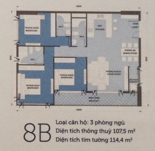 Căn hộ Vinhomes Central Park 6 - căn hộ số 8B - 114.4m2 - 3PN
