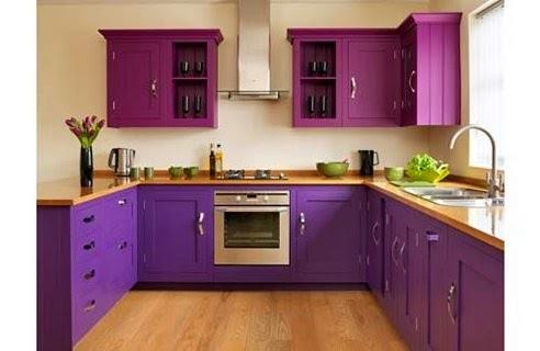 Dapur Cantik Nan Minimalis Dengan Warna Ungu