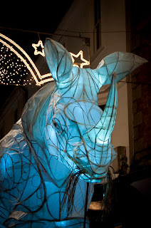 Light sculptures at Truro city of lights festival Cornwall