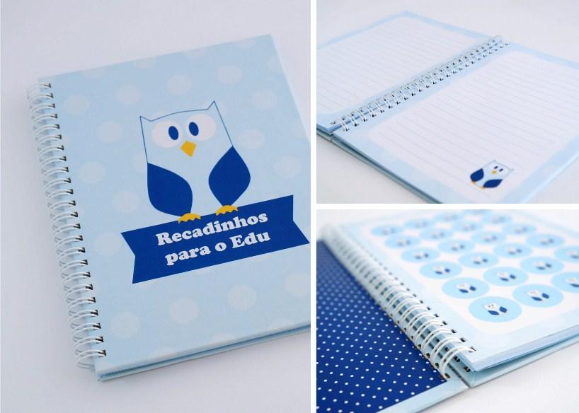 corujinha caderno recados personalizado