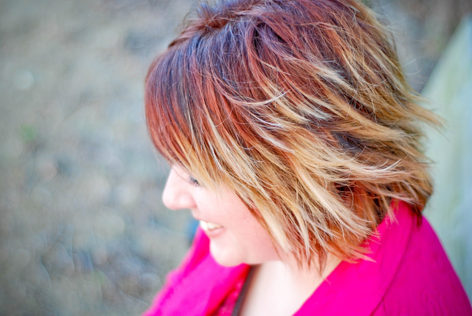 Platinum Blonde Hair With Black Lowlights A red-to-blonde ombre.