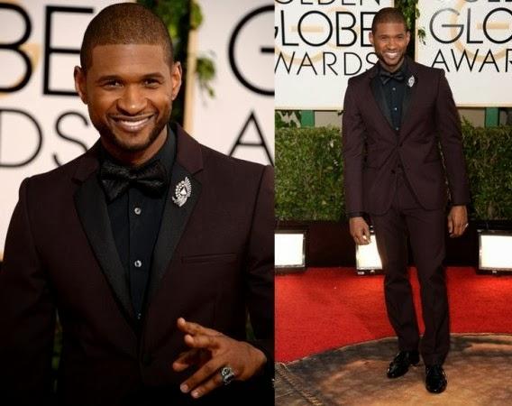 Usher at the golden globes award 2014
