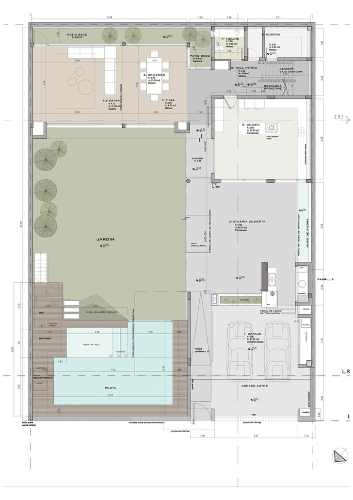 Colored site plan of Modern Villa Devoto by Andres Remy Architects