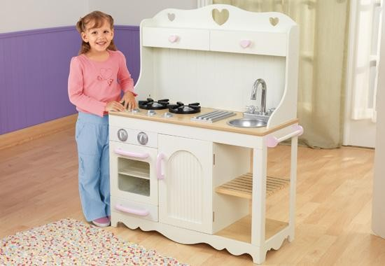 The KidKraft Prairie Wooden Kitchen Is Created In A Beautiful White And  Pink Colour Scheme With A Simple And Classic Design Which Means It Will Fit  In ...