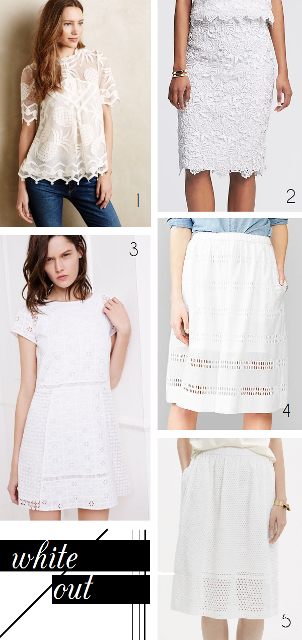 White eyelet and lace tops, skirts, and dresses for spring and summer