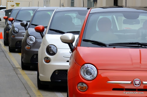 Fiat 500e Lined Up