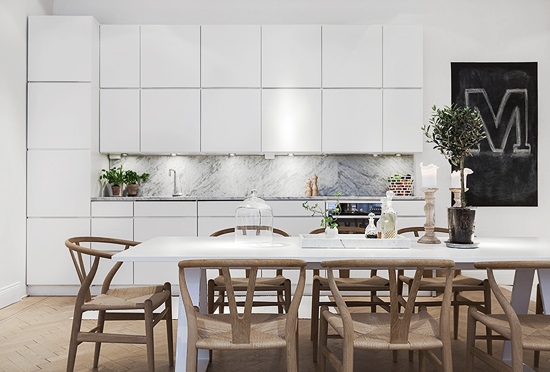 Marble in the kitchen stylizimo for Kitchen set scandinavian