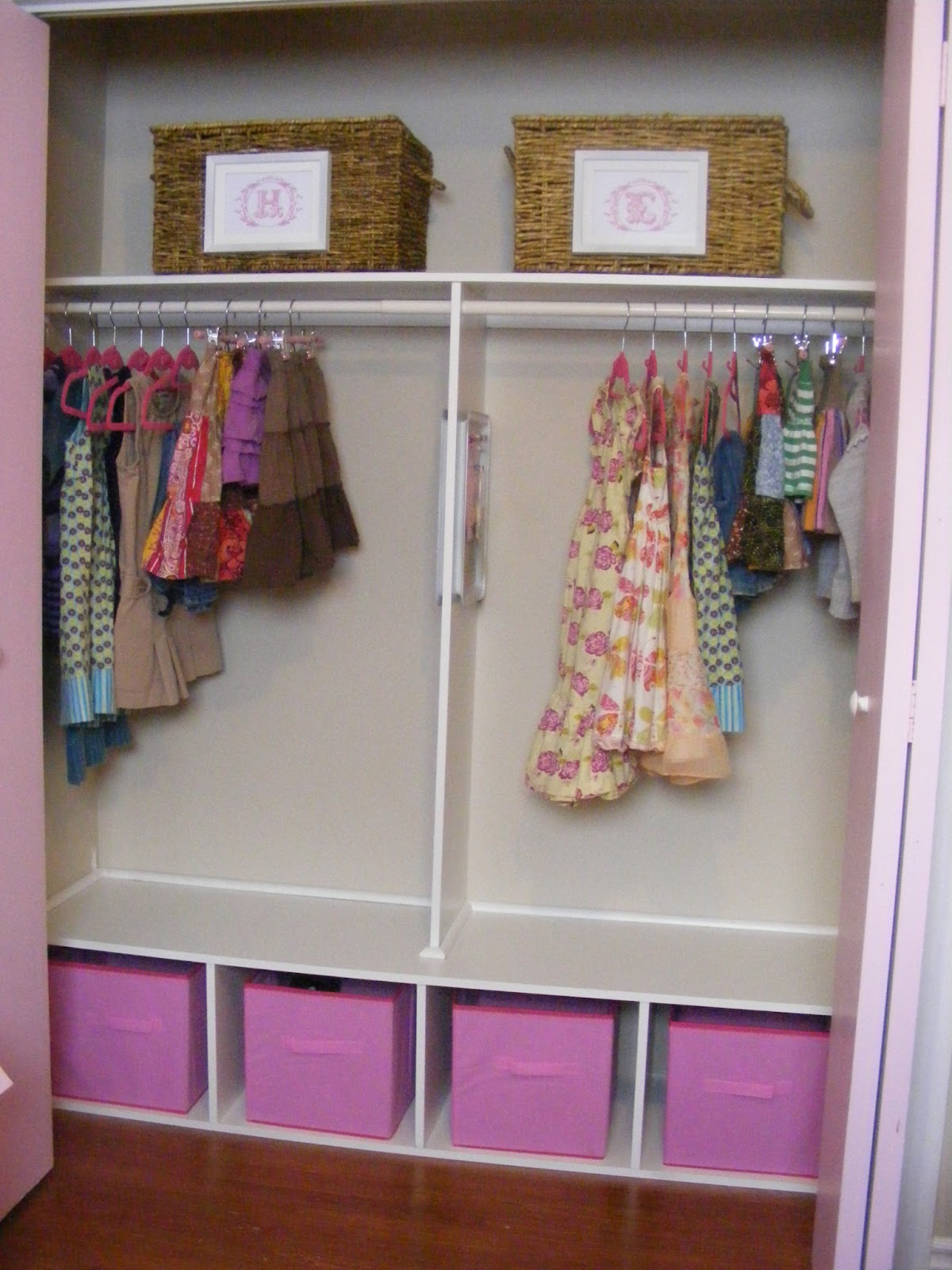 An organized and girly closet for two the complete for Kids room closet ideas