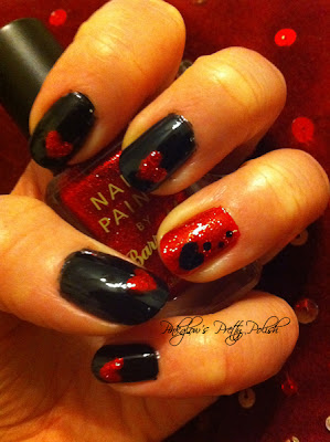 Red and Black Valentines Nails