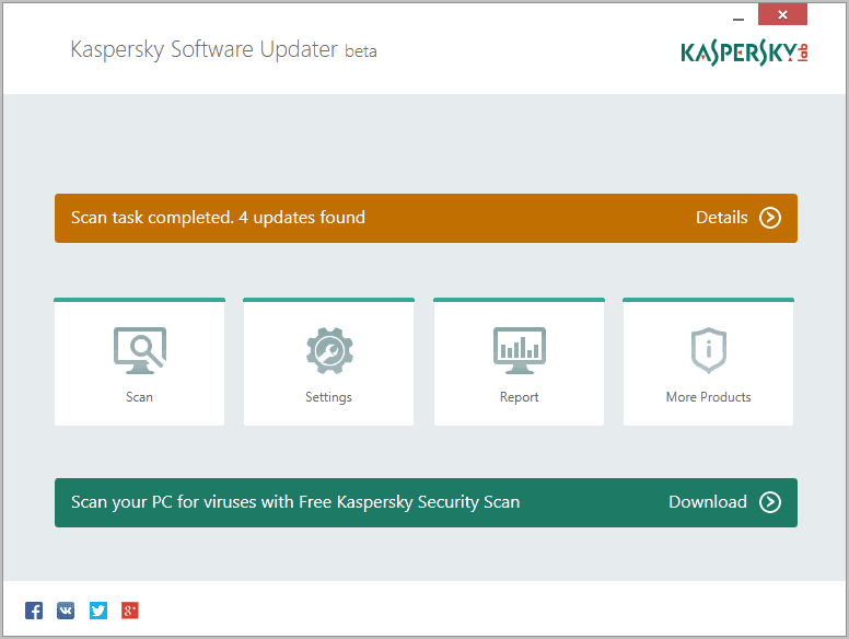 Kaspersky Software Updater schermata iniziale