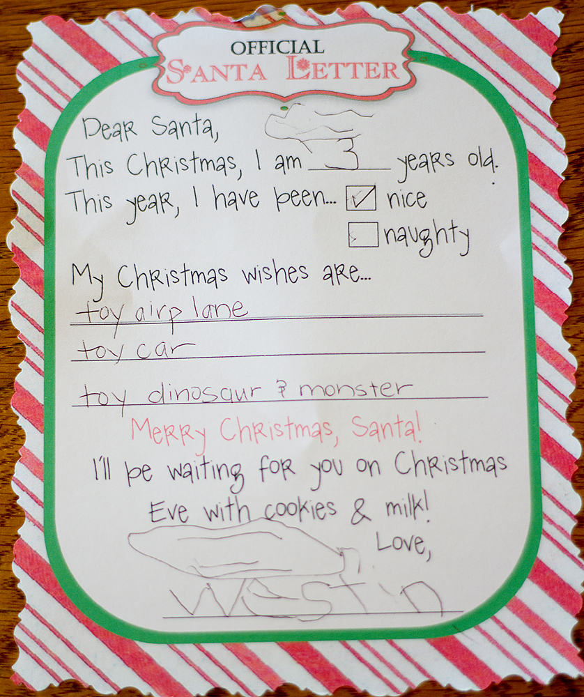 My 4 boys me santa the boys westin is doing a really great job on his writing for a three year old im impressed you can see his little backwards 3 at the top and im not really spiritdancerdesigns Gallery