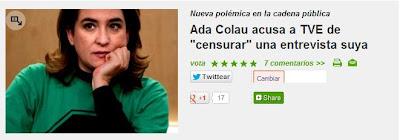 Ada Colau, de la PAH, denuncia el veto de TVE