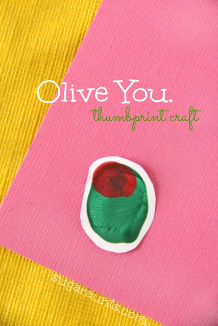 Olive you thumbprint craft for a Valentines Day card made by kids