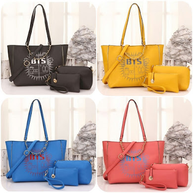 K-POP STYLE BAG ( 3 IN 1 SET ) - GREY , YELLOW , BLUE , PINK