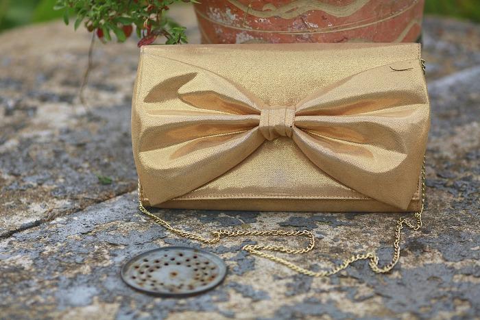 zlaté psaníčko s mašlí, gold bow purse, h&m