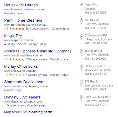 Google Local Search Results - 7pack