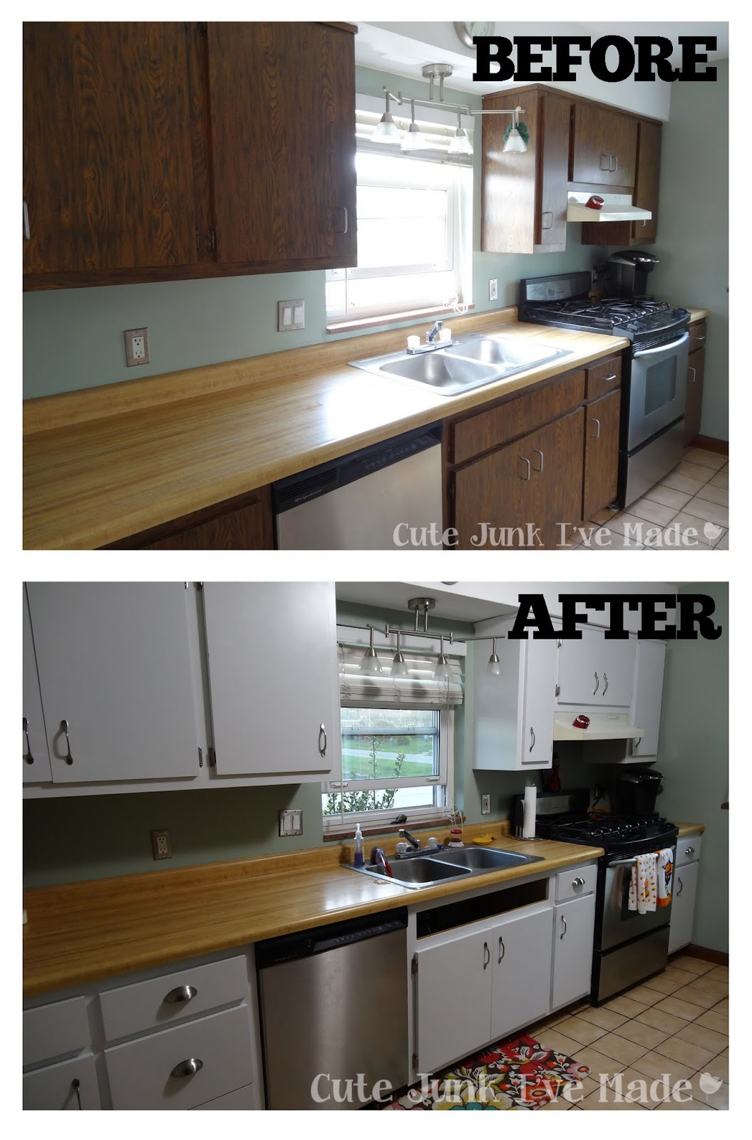 Cute junk i 39 ve made how to paint laminate cabinets part for Cabinets before and after