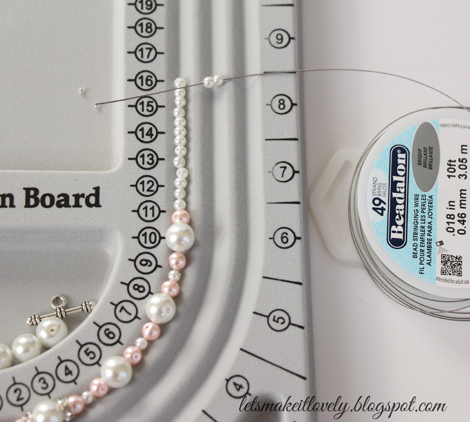 Bead Necklace Tutorial for Beginners. Jewelry Making. White and pink Necklace with swarovski elements.