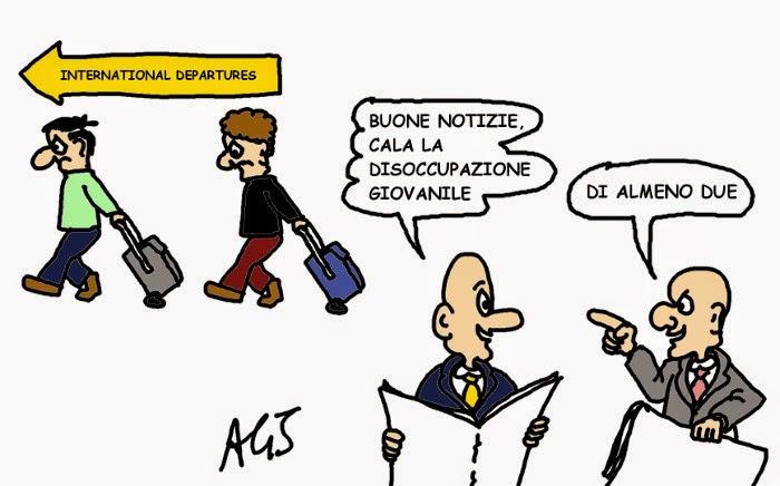 lavoro, disoccupazione, giovani vignetta satira