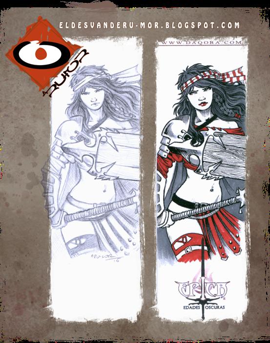 marcapáginas con ilustración dedicatoria de ªRU-MOR sobre al juego de cartas de ÉPICA.