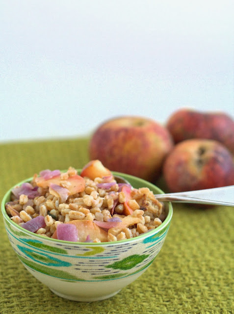 Fall Farro with Sausage and Apples ~ An healthy, easy weeknight dinner