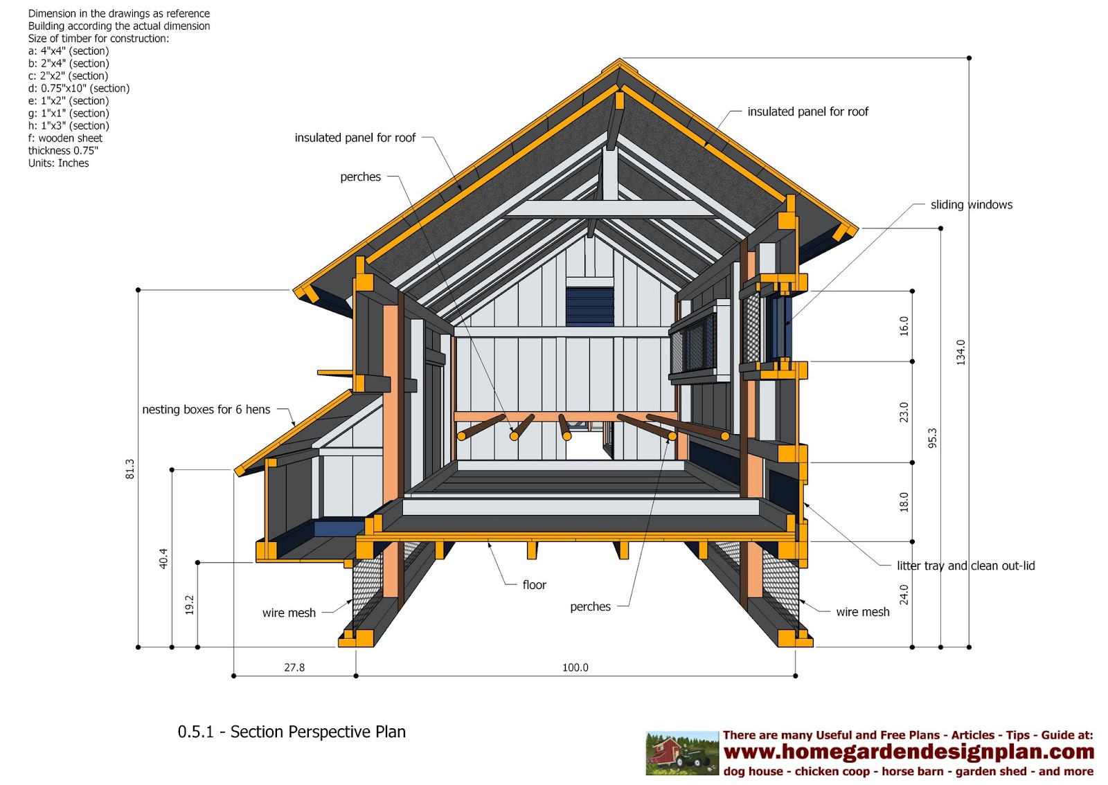 Home garden plans l200 large chicken coop plans how for Poultry house plans for 100 chickens
