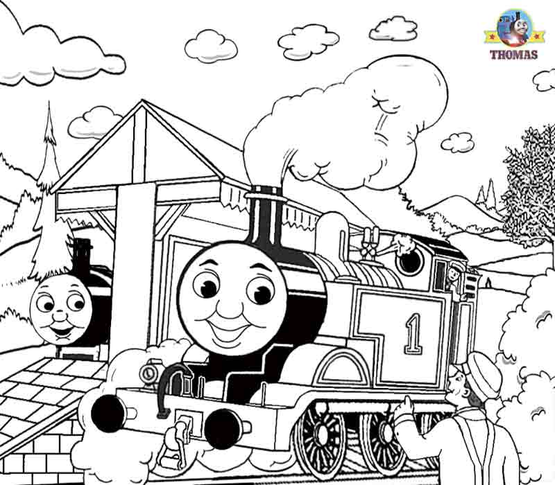 Thomas the train coloring pages free printable kids craft activities title=