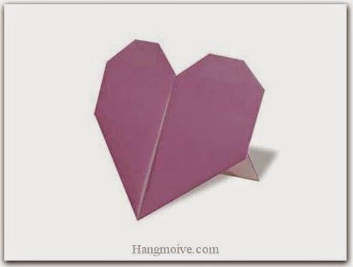 Cách gấp, xếp trái tim đứng bằng giấy origami - Video hướng dẫn xếp hình trái tim quà tặng - How to fold a Heart Stand