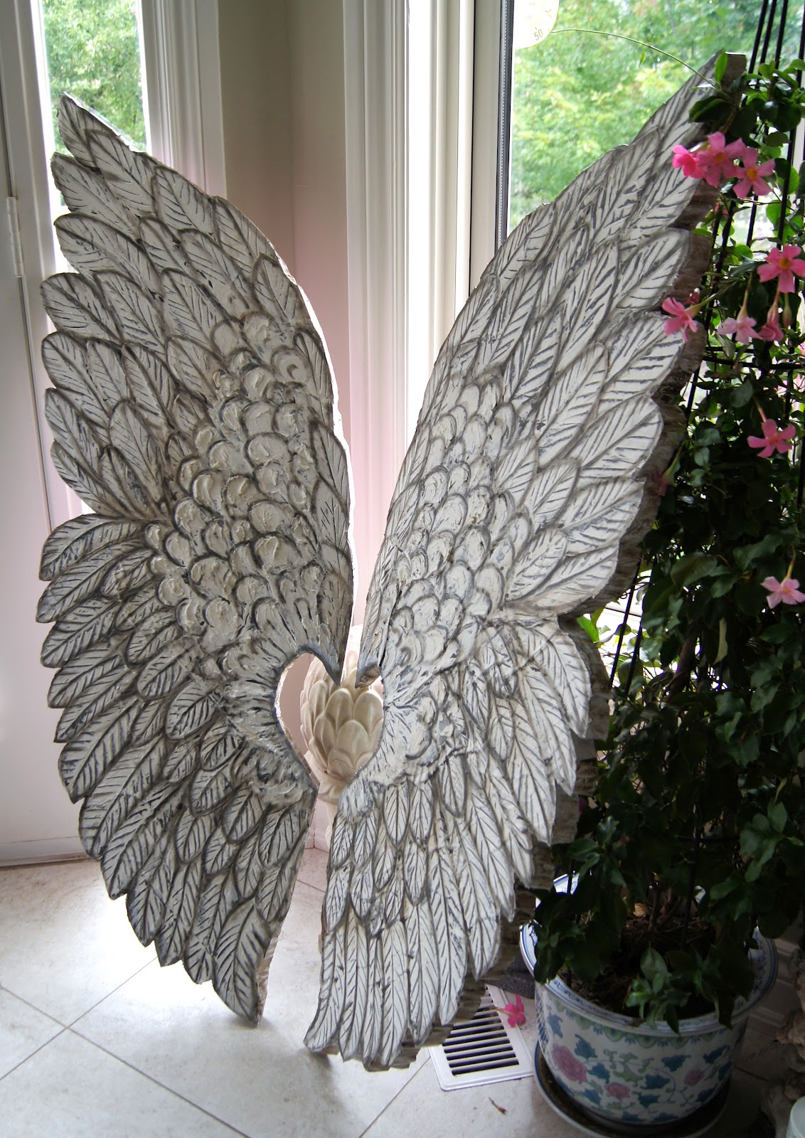 Artistic environments large angel wings hand crafted for Angel wings wall decoration