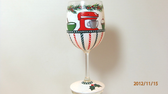 Christmas Baking Painted Wine Glass