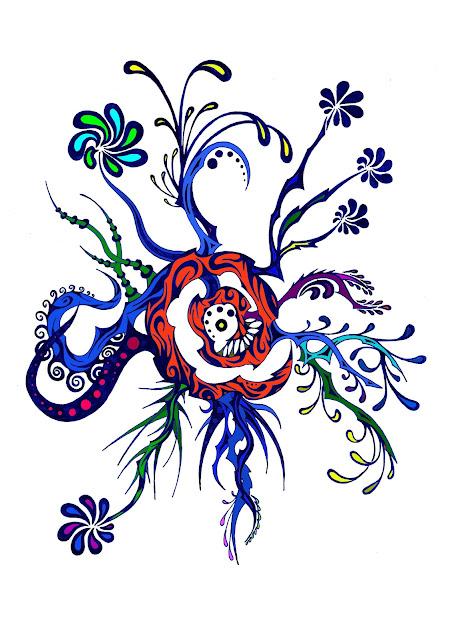 Dessins Fantastiques Fleurs+bleues+5+colori%C3%A9es+3