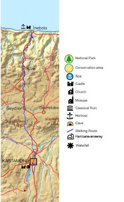 inebolu yürüyüş parkuru haritası