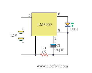 LED flasher with LM3909 IC