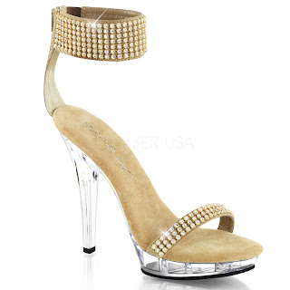 High heel evening shoes with gem encrusted ankle cuff and 5 inch heel