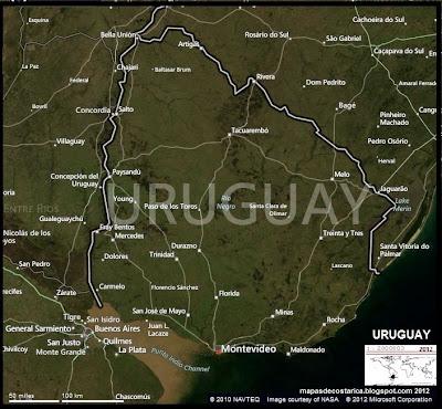Mapa de URUGUAY, (bing)