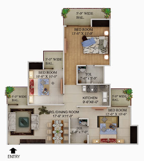 Up Country, Yamuna Expressway :: Floor Plans,Unit Plan :-3 BHK + 2 Toilet Plot Area: 1295 Sq. Ft.