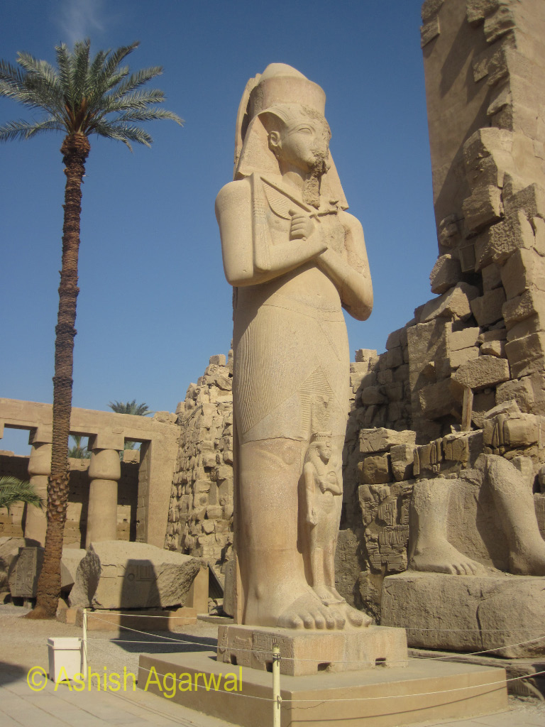 A huge statue of a pharaoh inside the Karnak temple in Luxor